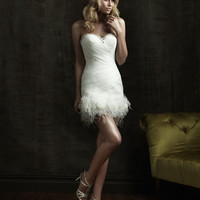 Sexy Feather Short Wedding Dress Cocktail Party Gown Stock size 6 8 10 12 14 16