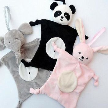 New Cute Multi-function Baby Towels Wipes Cartoon Elephant Rabbit Bear Baby Plush Toy Dolls Saliva Towel Comforter Toys 28*28cm