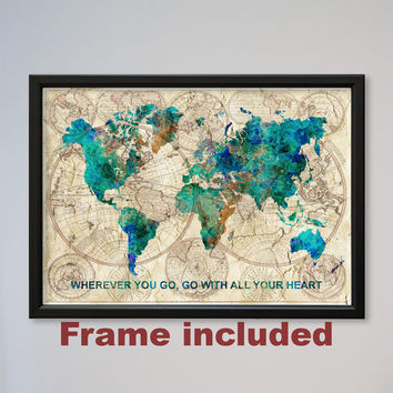 World Map FRAMED Confucius quote Watercolor print Poster Old Map Wall Art Decor Fine Art Gift Home Decor Wall Hanging express fast delivery
