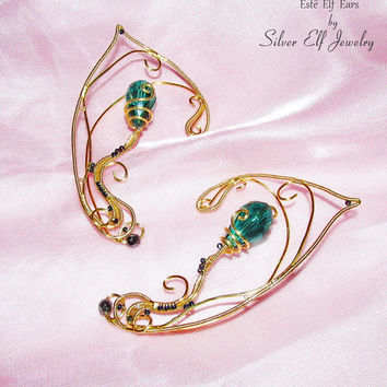 Estë Elf Ears, LOTR Elf Ears, Elf Earrings, Fantasy Earrings, no piercing earrings, wire ear cuff, elf ear wrap, Cosplay jewelry