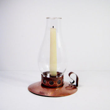 Primitive Copper Finger Candle Holder Glass Globe Vintage Hurricane Lantern Brass Early Century