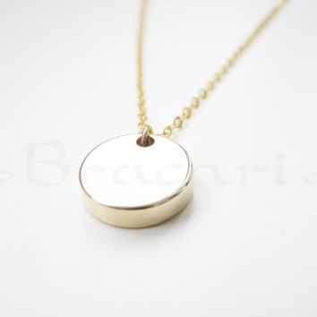 Bottega Necklace, Gold circle necklace, Gold coin necklace, Coin Necklace, Gold Pendant Necklace, Coin Jewelry, Delicate Gold Disc Necklace