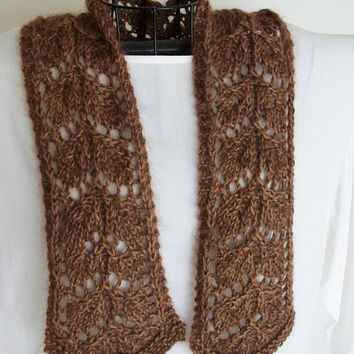 Knitted Scarf Pattern Lace Scarf PDF Frosted Fall Leaves Easy Knitting Romantic