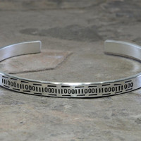 Modern Sterling Silver Cuff Bracelet Merging Personalized Binary Code and Tribal Inspiration