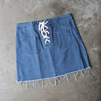 denim lace up skirt