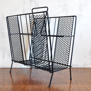 Black Mid Century Magazine Rack, Richard Galef Style, Vintage Record Holder, Black Wire Storage
