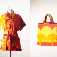 Vintage 70s Swim Cover Up and Matching Bag | Kaftan Terry Cloth Robe Mini Dress 70s Dress Beach Tote Ombre Psychedelic Dress Kimono Caftan
