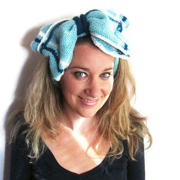 Ultimate Knit Hair Bow in Blue, Hair Ties, Knit Headband, Plaid Bow by Solandia, Women Hair Accessories, Valentine's Gift