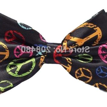 Mens Black with Colorful Peace Signs Tied Bowtie Party Tie