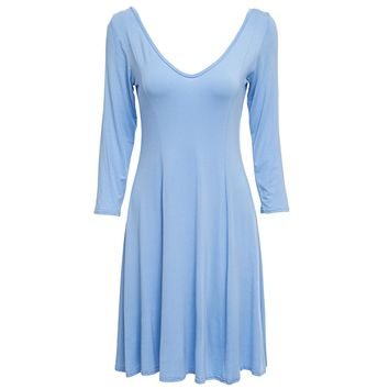 Chic V-Neck 3/4 Sleeve Pure Color Backless A-Line Women's Dress