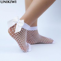 Chic Women's Harajuku Breathable White Bow knot Fishnet Socks.Sexy Hollow out Mesh Nets Socks Ladies Girl's Lolita Style Bow Sox