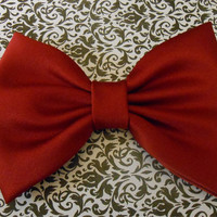 Burgundy Satin Hair Bow, Girls Hairbow