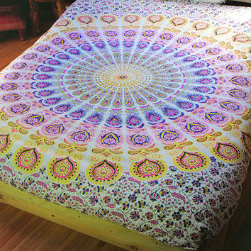 By The Moon - Phoenix Mandala Throw - Queen - Purple/Yellow