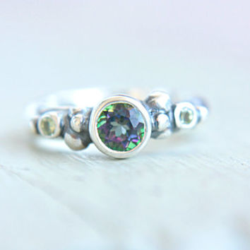 Mystic Topaz Ring Peridot Sterling Silver Engagement Ring Organic Wedding Ring Silversmithed Size 5-5,5
