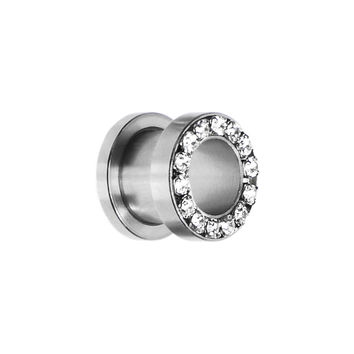00 Gauge Stainless Steel Clear Gem Screw Fit Tunnel