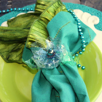 Sea Glass Napkin Ring, Upcycled Plastic Bottle, Blue, Green, Translucent, beaded green leaves flower, recycled water bottle, teal turquoise