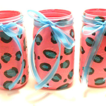 Cheetah Print Mason Jars, Painted Mason Jars, Home Decor, Animal Print, Mason Jar Gifts, Pink Jars