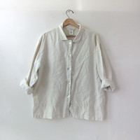 vintage linen shirt. button down shirt. natural white minimalist shirt