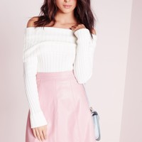 Missguided - Faux Leather A Line Mini Skirt Dusky PInk