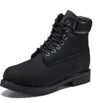 DCK7YE Best Deal Online Timberland 10061 Leather Lace-Up Boot Men Women Shoes Black