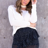 Polka Dot Ruffle Skirt - Black