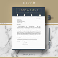Modern Resume Template | CV Template for Word | Resume template + Cover Letter & References + Writing guide | Instant Download