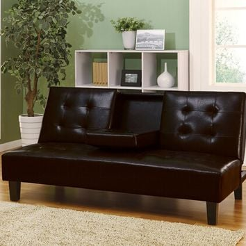 Acme 05641 Barron espresso leather like vinyl adjustable sofa futon bed with tufted back and fold down center with cup holders