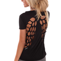 Black Winged Cut Out Back Tee