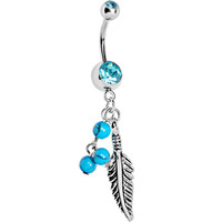 Aqua Gem Native Turquoise Feather Dangle Belly Ring | Body Candy Body Jewelry