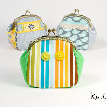 Metal frame little coin Purse. Green body. Multicolor stripes. Cotton Cosmetic Pouch.