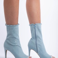 Dogs Are Barking Denim Booties in Light Blue