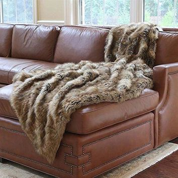 Ben and Jonah Amber Fox Faux Fur Throw Blanket (84 inch  x 58 inch )