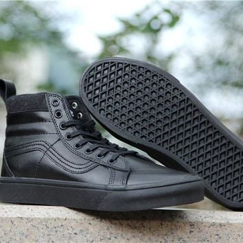 LMFON Vans Black High Top Leather With Fur Warm Casual Sneakers Sport Shoes