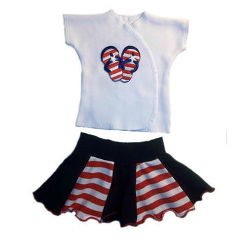 Baby Girls' USA Flip Flops Shirt and Skirt Set