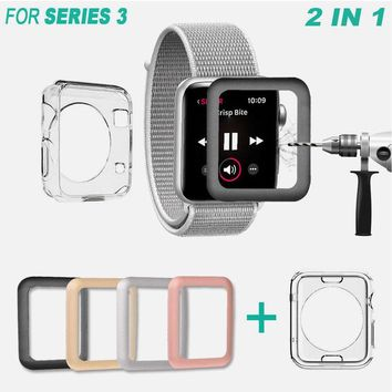 Apple Watch Series 3 Full Tempered Glass Screen Protector+TPU Case for 38/42mm