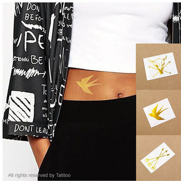 Gold temporary tattoo set, gold metallic tattoo,swallow,cow set - temporary tattoo,Temporary Tattoo GT012-14