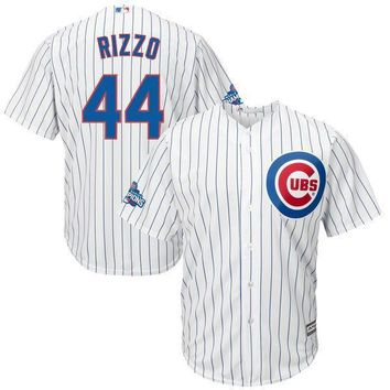 c3fdf0840c4 Men's Chicago Cubs Anthony Rizzo Majestic White Home 2016 World Series  Champions Team Logo Patch Player