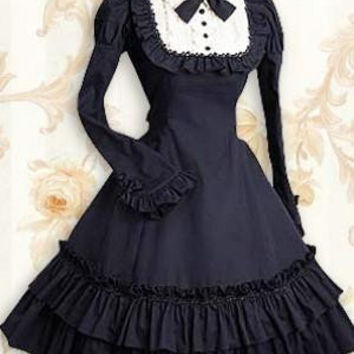 Long Sleeves Ruffle Gothic Lolita Dress Dark Blue costumes cosplay halloween Christmas Alternative Measures - Brides & Bridesmaids - Wedding, Bridal, Prom, Formal Gown