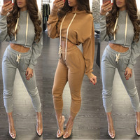 Drawstring Crop Sweat Top and Pants