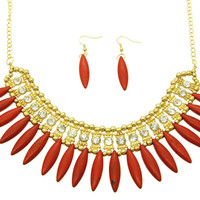 Reese Bib Necklace Set in Red