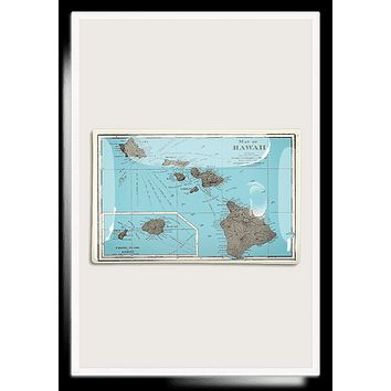 Hawaii Islands Map Decoupage Glass Tray