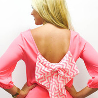MACA Clothe · 3/4 Sleeve Neon Pink Top with Chevron Bow