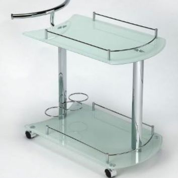 Copy of White Glass Penelope Serving Cart