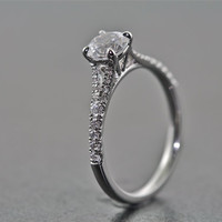 14kt White Gold and Diamond Engagement Ring With .75 Carat White Sapphire Center
