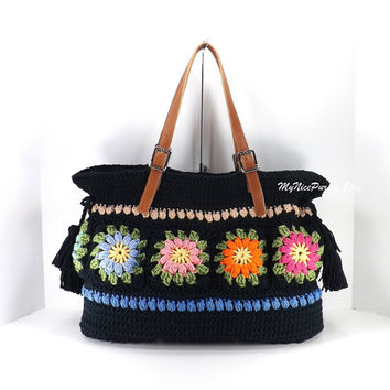 Crochet Floral Granny Squares Tote Bag with Adjustable Genuine Leather Strap Handles /BLACK/,  Crochet Bag, Beach Bag, Shopper, Gift Idea