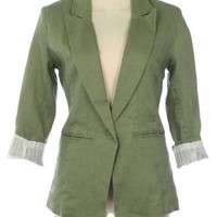 G2 Chic Women's Striped Cuff Linen Spring Blazer