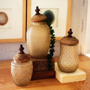 Glass Canisters With Wooden Finial Tops (Set of 3)