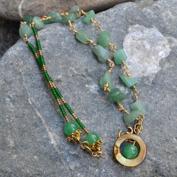 Jade Necklace, Beaded Necklace, Ohm Charm, Yoga Jewelry, Gemstone Necklace, Bohemian, Green Necklace, Mother of Pearl, Boho Jewellery