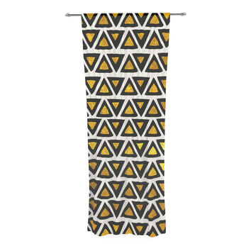 "Pom Graphic Design ""Aztec Triangles Gold"" Yellow Black Decorative Sheer Curtain"