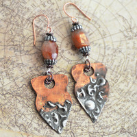 Sun Goddess Boho Earrings, Artisan Rustic Stamped Silver and Copper with Sunstone Bead Earrings, Stamped Solder Earrings, Mixed Metal SRAJD